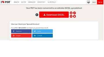 pdf to excel ilovepdf